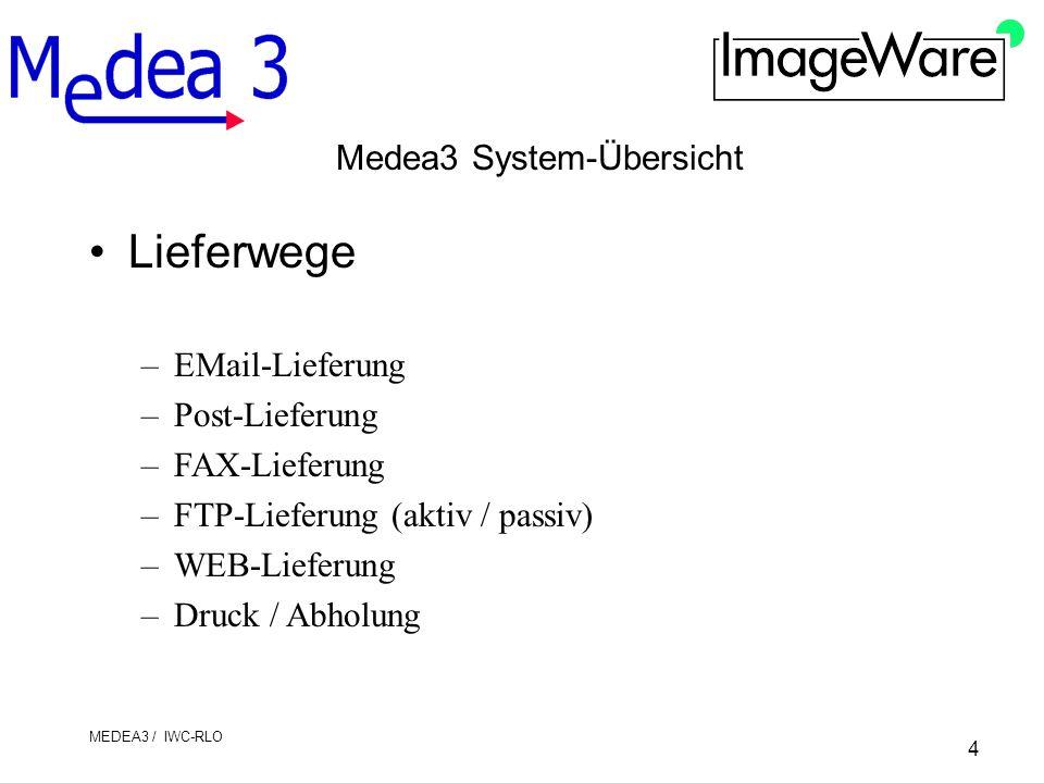 4 MEDEA3 / IWC-RLO Medea3 System-Übersicht Lieferwege –EMail-Lieferung –Post-Lieferung –FAX-Lieferung –FTP-Lieferung (aktiv / passiv) –WEB-Lieferung –Druck / Abholung