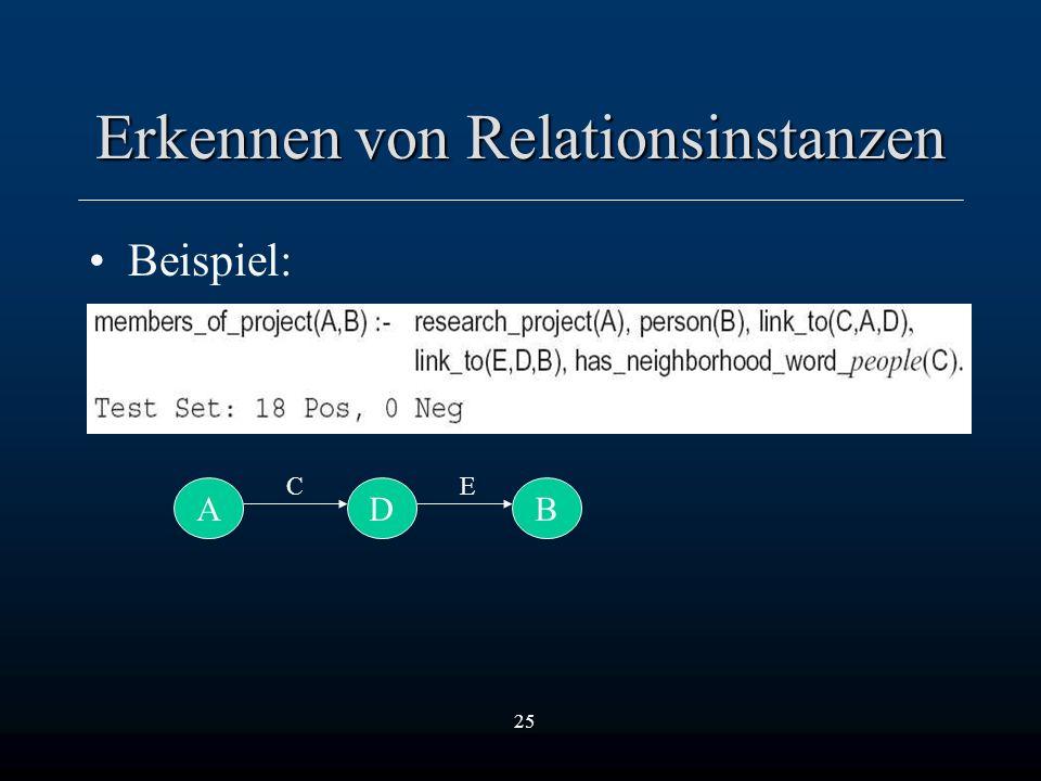 25 Erkennen von Relationsinstanzen Beispiel: ADB CE