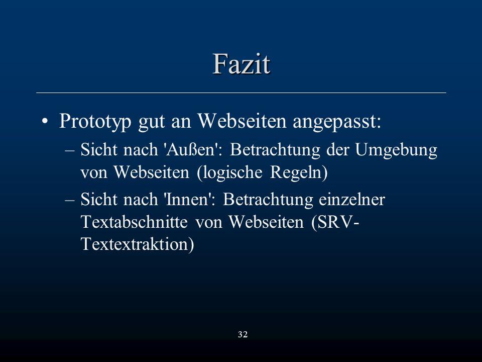 32 Fazit Prototyp gut an Webseiten angepasst: –Sicht nach Außen : Betrachtung der Umgebung von Webseiten (logische Regeln) –Sicht nach Innen : Betrachtung einzelner Textabschnitte von Webseiten (SRV- Textextraktion)