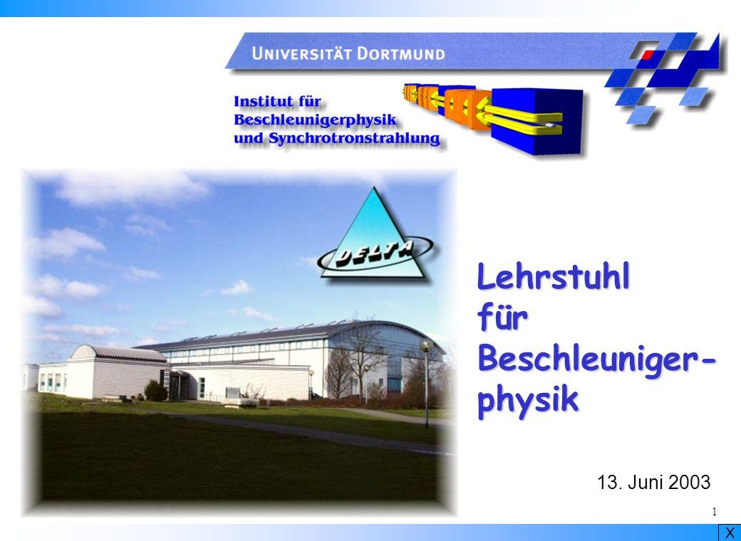 X 2 Lehrstuhl für Beschleunigerphysik Prof.Dr. Klaus Wille Prof.