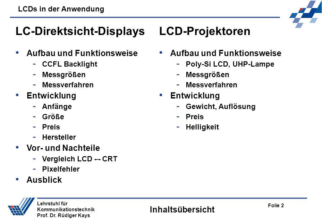 LCDs in der Anwendung Folie 2 Lehrstuhl für Kommunikationstechnik Prof. Dr. Rüdiger Kays Inhaltsübersicht LC-Direktsicht-Displays Aufbau und Funktions