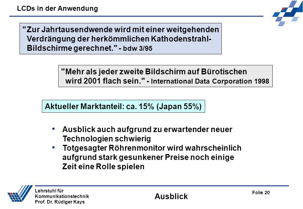LCDs in der Anwendung Folie 20 Lehrstuhl für Kommunikationstechnik Prof. Dr. Rüdiger Kays Ausblick