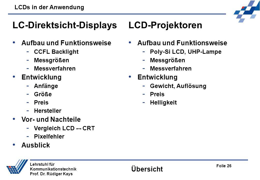 LCDs in der Anwendung Folie 26 Lehrstuhl für Kommunikationstechnik Prof. Dr. Rüdiger Kays Übersicht LC-Direktsicht-Displays Aufbau und Funktionsweise