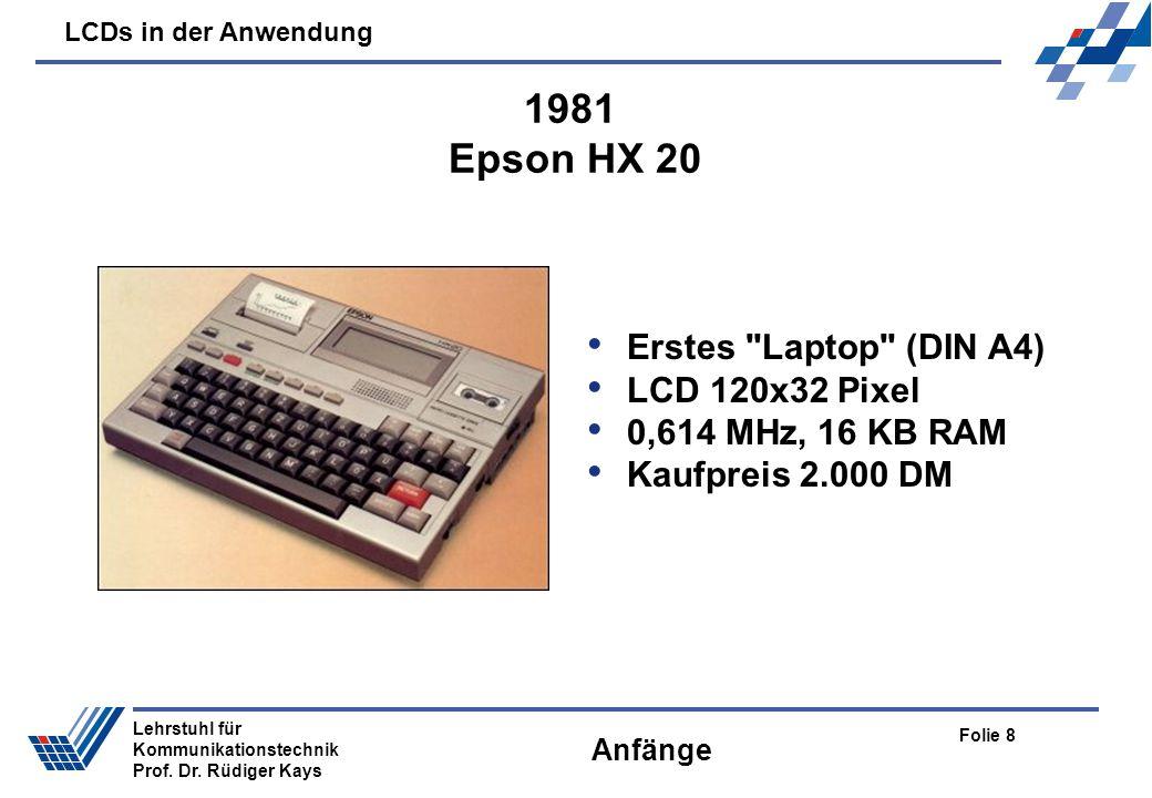 LCDs in der Anwendung Folie 8 Lehrstuhl für Kommunikationstechnik Prof. Dr. Rüdiger Kays Anfänge Erstes