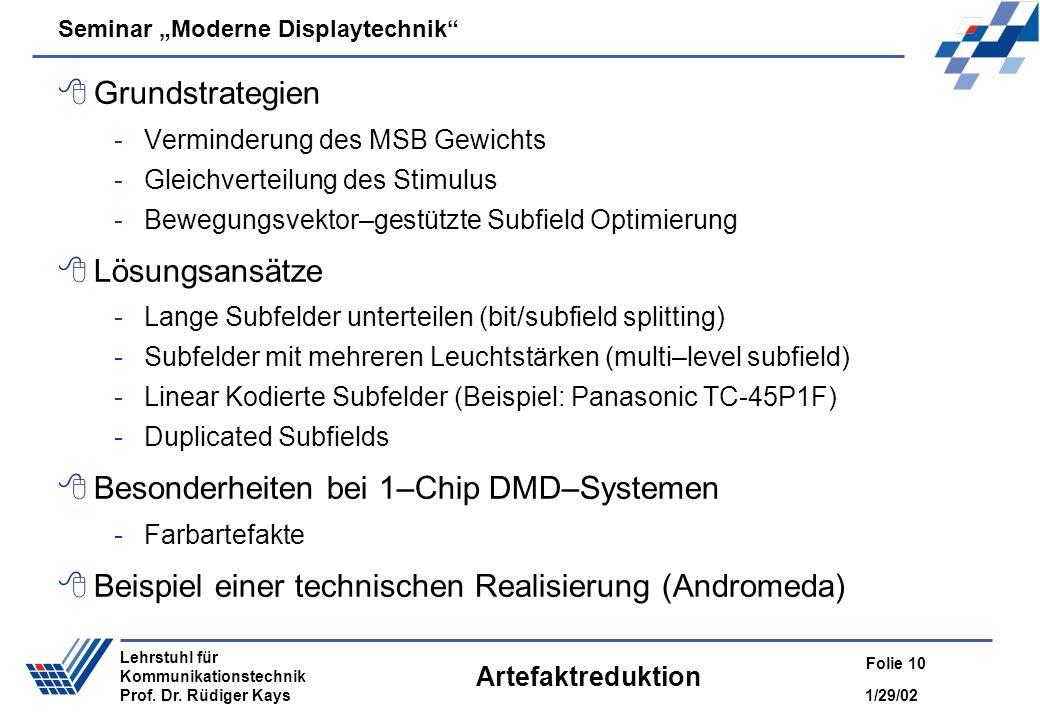 Seminar Moderne Displaytechnik 1/29/02 Folie 10 Lehrstuhl für Kommunikationstechnik Prof. Dr. Rüdiger Kays Artefaktreduktion Grundstrategien -Verminde