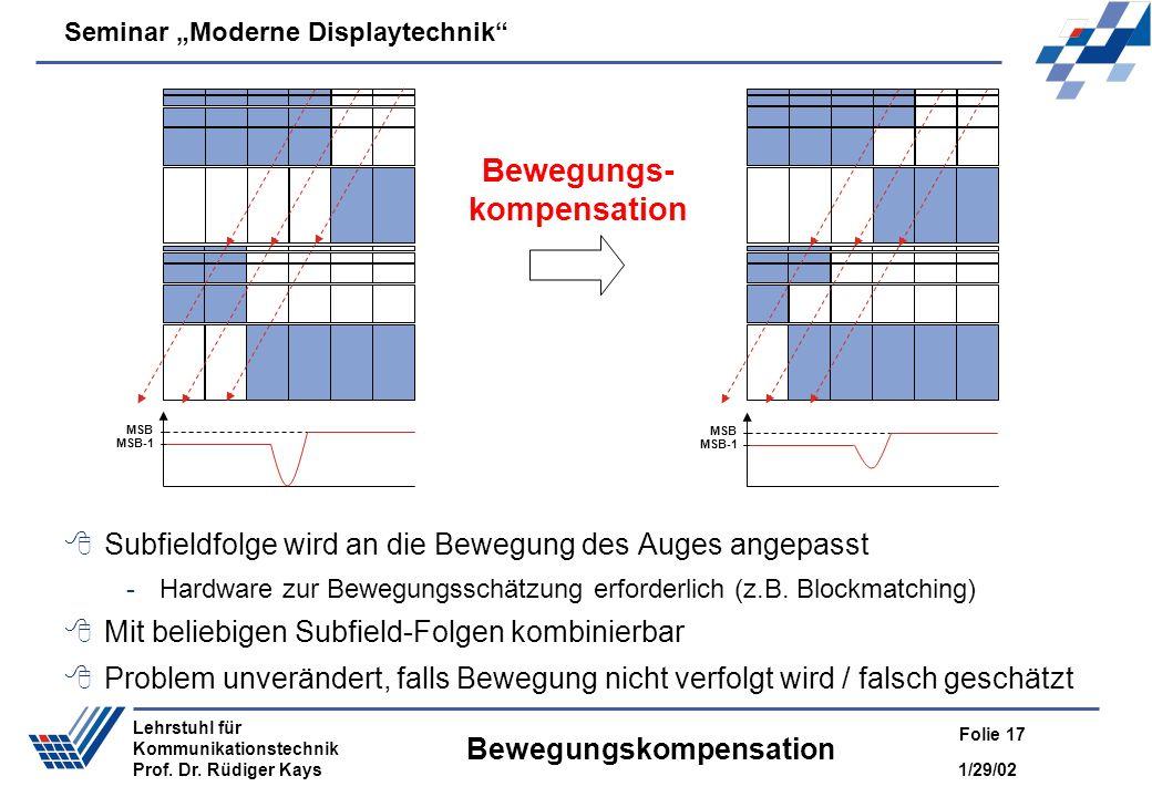 Seminar Moderne Displaytechnik 1/29/02 Folie 17 Lehrstuhl für Kommunikationstechnik Prof. Dr. Rüdiger Kays Bewegungskompensation Subfieldfolge wird an