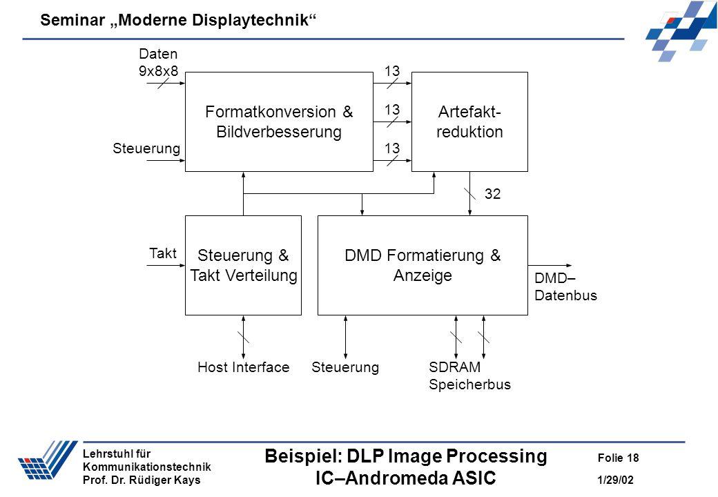 Seminar Moderne Displaytechnik 1/29/02 Folie 18 Lehrstuhl für Kommunikationstechnik Prof. Dr. Rüdiger Kays Beispiel: DLP Image Processing IC–Andromeda