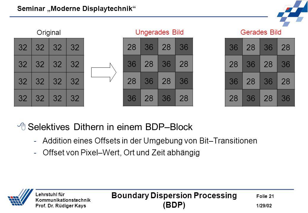 Seminar Moderne Displaytechnik 1/29/02 Folie 21 Lehrstuhl für Kommunikationstechnik Prof. Dr. Rüdiger Kays Boundary Dispersion Processing (BDP) Selekt