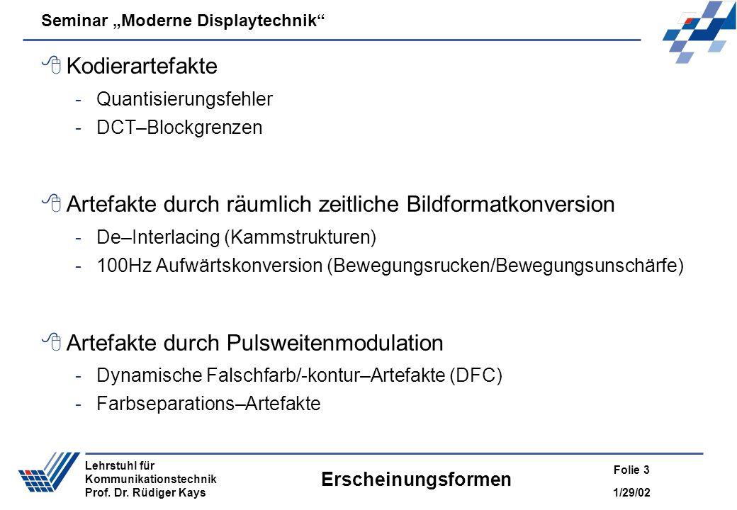 Seminar Moderne Displaytechnik 1/29/02 Folie 3 Lehrstuhl für Kommunikationstechnik Prof. Dr. Rüdiger Kays Erscheinungsformen Kodierartefakte -Quantisi