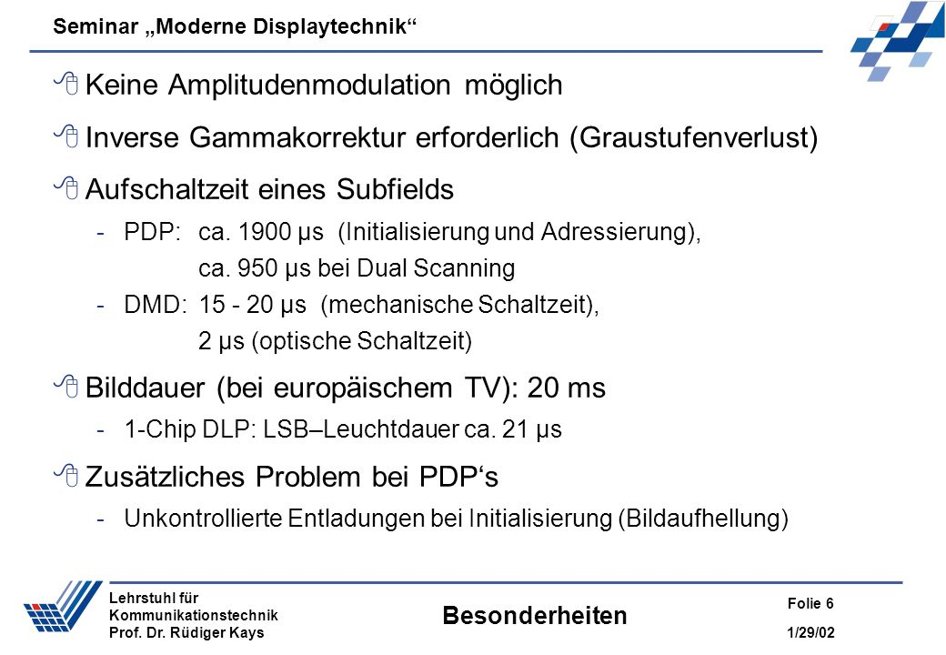 Seminar Moderne Displaytechnik 1/29/02 Folie 6 Lehrstuhl für Kommunikationstechnik Prof. Dr. Rüdiger Kays Besonderheiten Keine Amplitudenmodulation mö