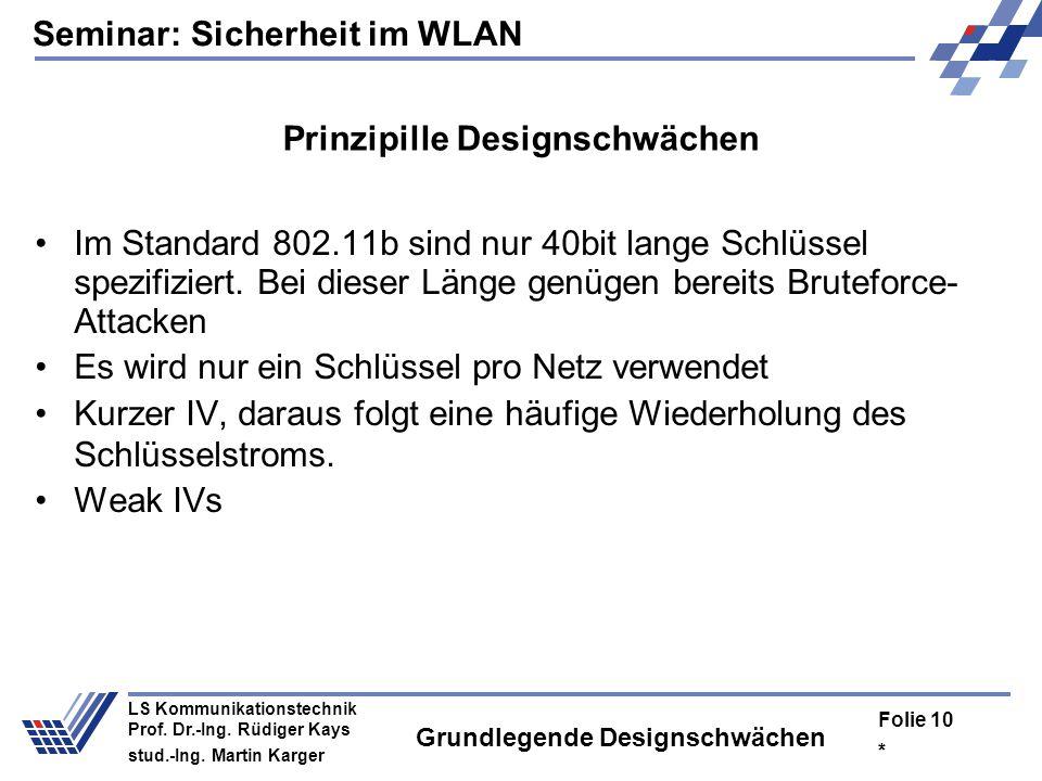 Seminar: Sicherheit im WLAN * Folie 9 LS Kommunikationstechnik Prof. Dr.-Ing. Rüdiger Kays stud.-Ing. Martin Karger Designschwächen