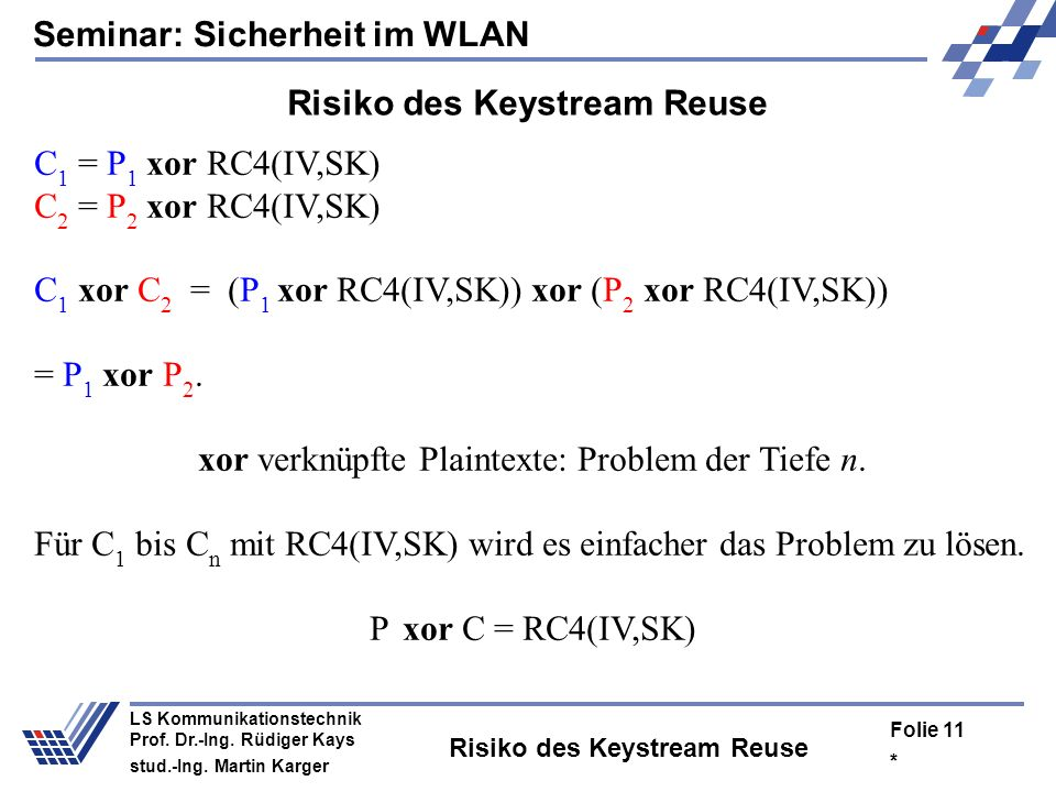 Seminar: Sicherheit im WLAN * Folie 10 LS Kommunikationstechnik Prof. Dr.-Ing. Rüdiger Kays stud.-Ing. Martin Karger Grundlegende Designschwächen Im S
