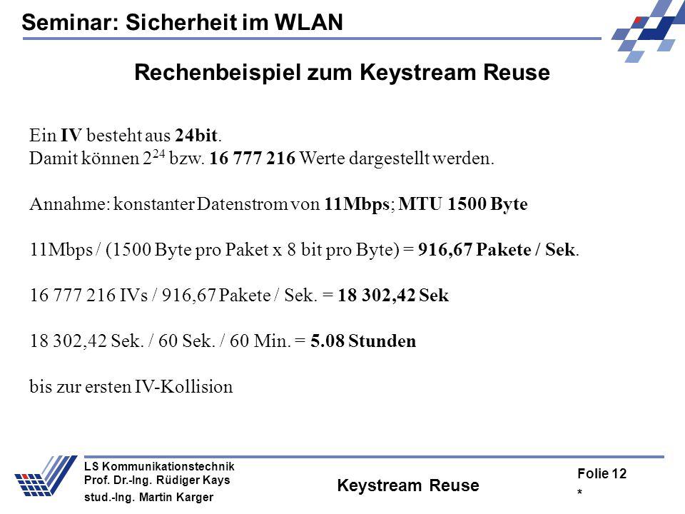 Seminar: Sicherheit im WLAN * Folie 11 LS Kommunikationstechnik Prof. Dr.-Ing. Rüdiger Kays stud.-Ing. Martin Karger Risiko des Keystream Reuse C 1 =