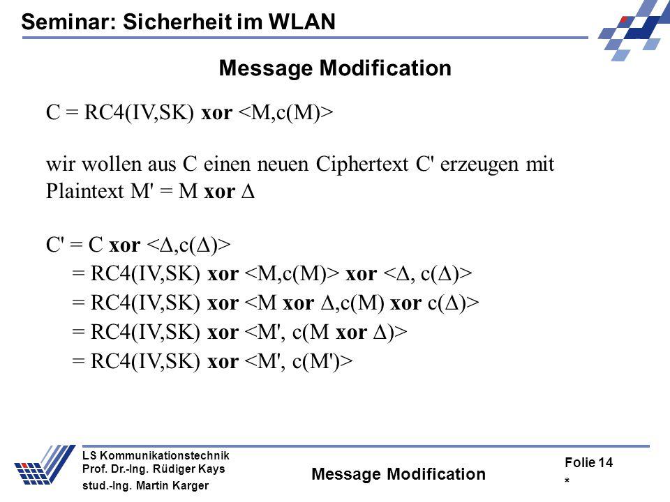 Seminar: Sicherheit im WLAN * Folie 13 LS Kommunikationstechnik Prof. Dr.-Ing. Rüdiger Kays stud.-Ing. Martin Karger Angriffsmöglichkeiten Angriffsmög