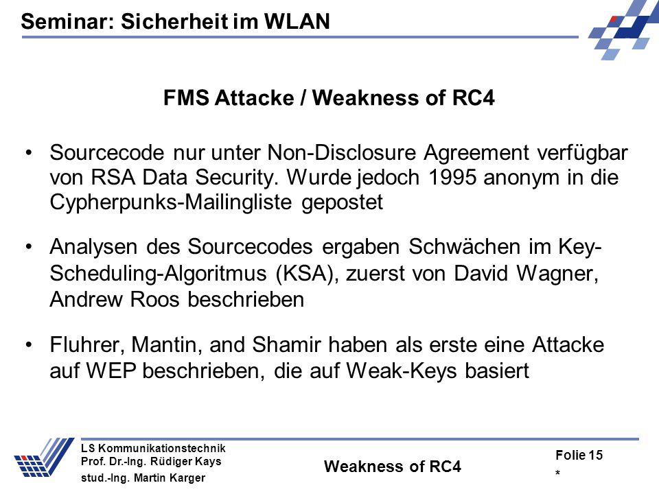 Seminar: Sicherheit im WLAN * Folie 14 LS Kommunikationstechnik Prof. Dr.-Ing. Rüdiger Kays stud.-Ing. Martin Karger Message Modification C = RC4(IV,S