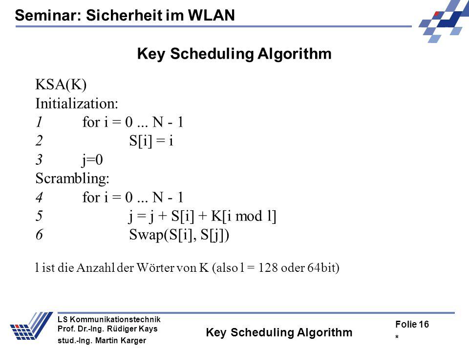 Seminar: Sicherheit im WLAN * Folie 15 LS Kommunikationstechnik Prof. Dr.-Ing. Rüdiger Kays stud.-Ing. Martin Karger Weakness of RC4 Sourcecode nur un