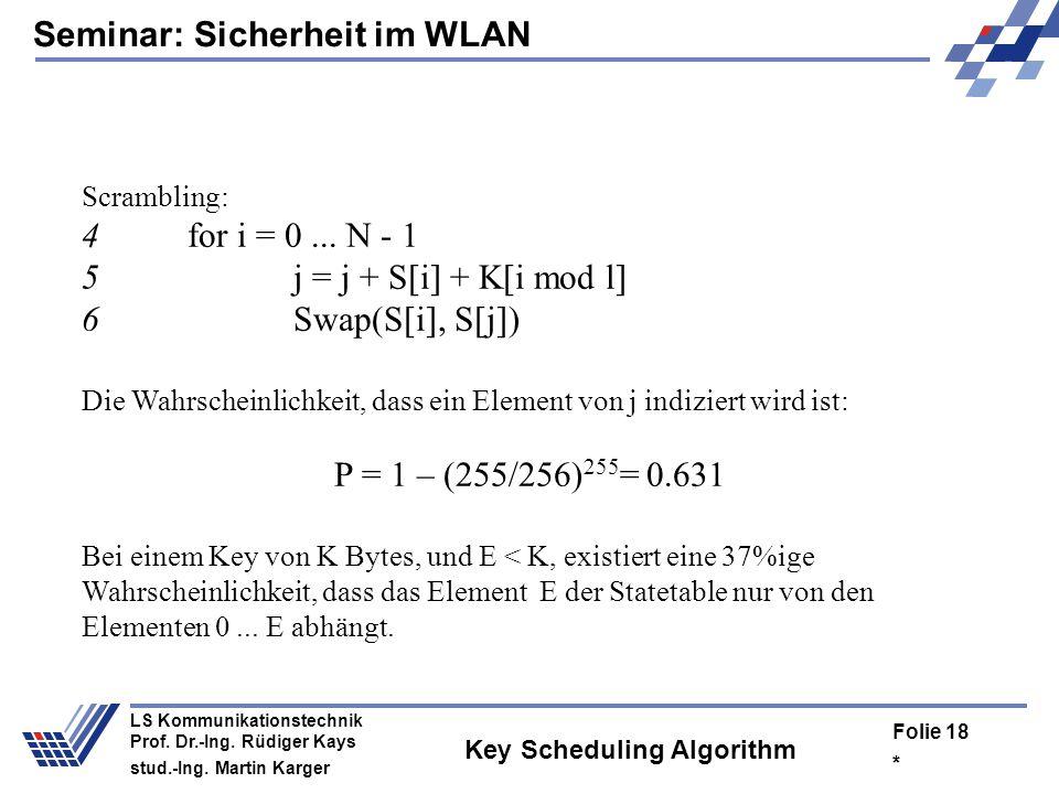Seminar: Sicherheit im WLAN * Folie 17 LS Kommunikationstechnik Prof. Dr.-Ing. Rüdiger Kays stud.-Ing. Martin Karger Statetable.......210255.......234