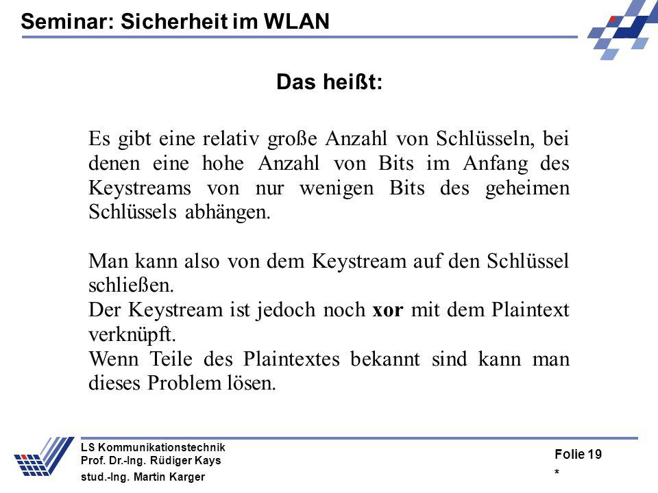 Seminar: Sicherheit im WLAN * Folie 18 LS Kommunikationstechnik Prof. Dr.-Ing. Rüdiger Kays stud.-Ing. Martin Karger Key Scheduling Algorithm Scrambli