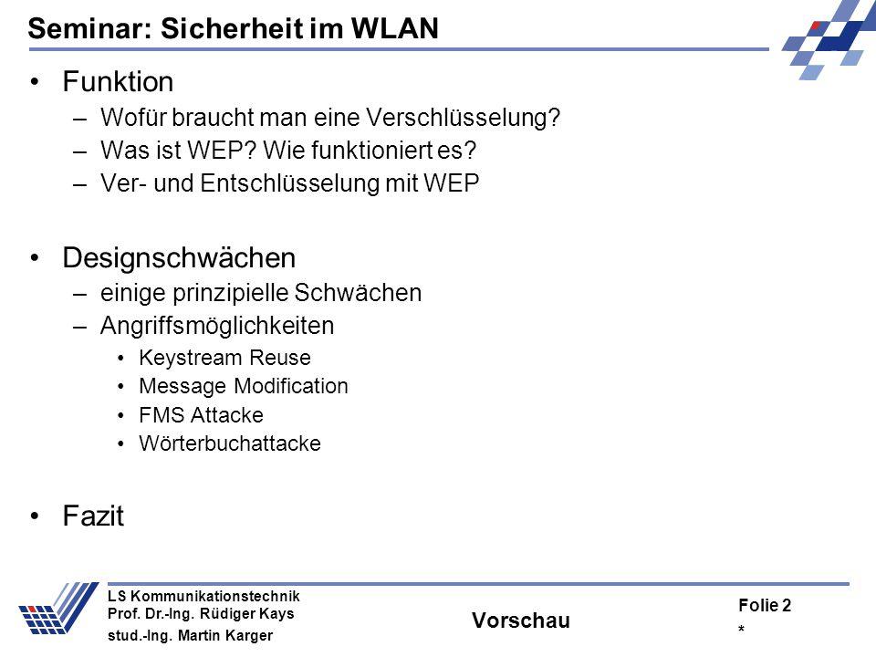 Seminar: Sicherheit im WLAN * Folie 1 LS Kommunikationstechnik Prof. Dr.-Ing. Rüdiger Kays stud.-Ing. Martin Karger IEEE 802.11 - WEP: Sicherheit von