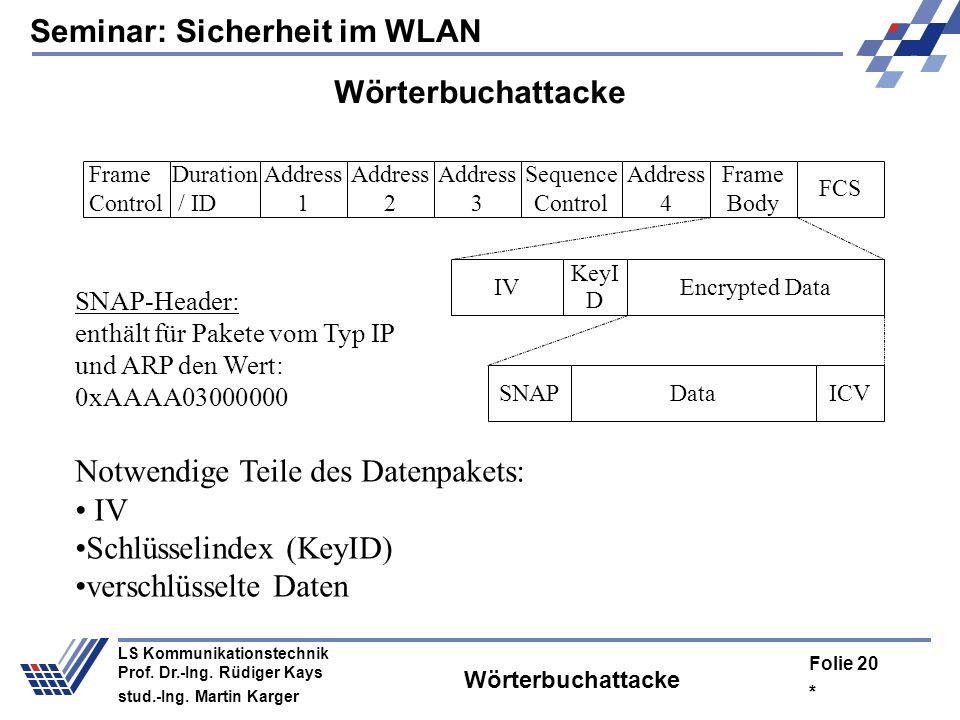 Seminar: Sicherheit im WLAN * Folie 19 LS Kommunikationstechnik Prof. Dr.-Ing. Rüdiger Kays stud.-Ing. Martin Karger Das heißt: Es gibt eine relativ g