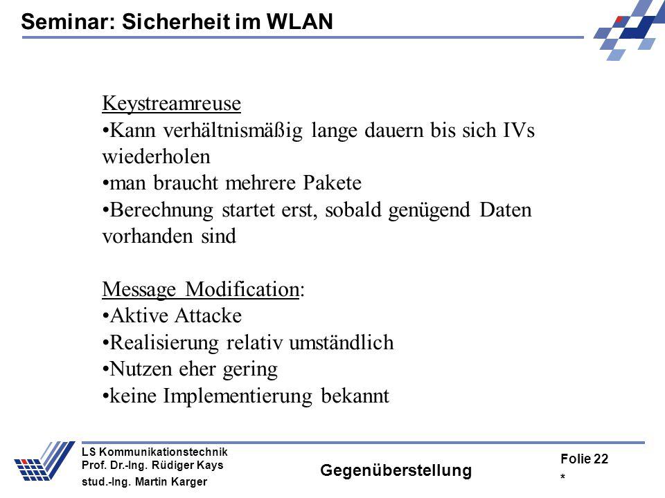 Seminar: Sicherheit im WLAN * Folie 21 LS Kommunikationstechnik Prof. Dr.-Ing. Rüdiger Kays stud.-Ing. Martin Karger Wörterbuchattacke Überprüfung des