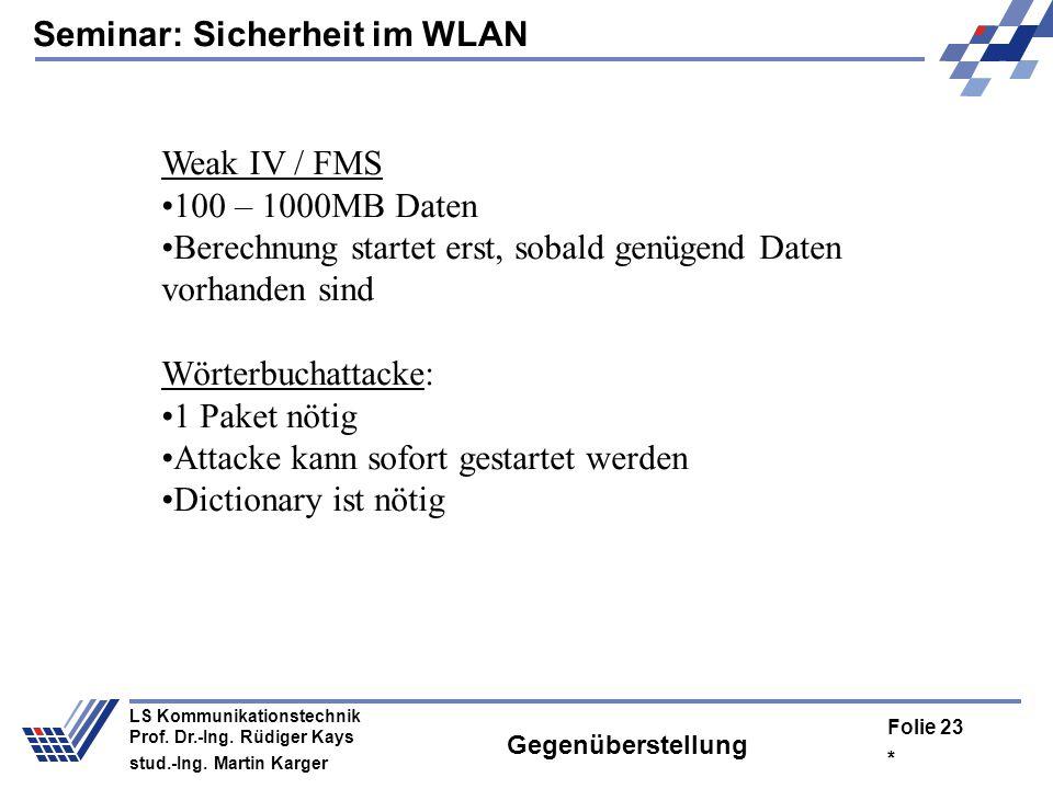 Seminar: Sicherheit im WLAN * Folie 22 LS Kommunikationstechnik Prof. Dr.-Ing. Rüdiger Kays stud.-Ing. Martin Karger Gegenüberstellung Keystreamreuse