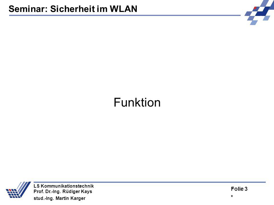 Seminar: Sicherheit im WLAN * Folie 2 LS Kommunikationstechnik Prof. Dr.-Ing. Rüdiger Kays stud.-Ing. Martin Karger Vorschau Funktion –Wofür braucht m