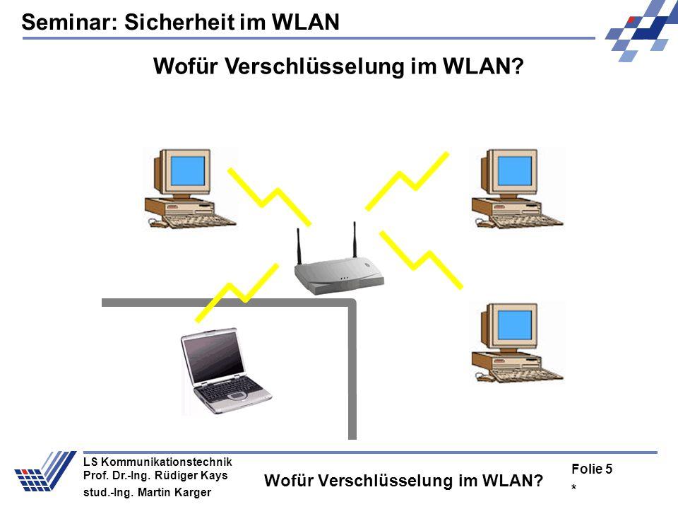 Seminar: Sicherheit im WLAN * Folie 4 LS Kommunikationstechnik Prof. Dr.-Ing. Rüdiger Kays stud.-Ing. Martin Karger Wofür Verschlüsselung im WLAN?