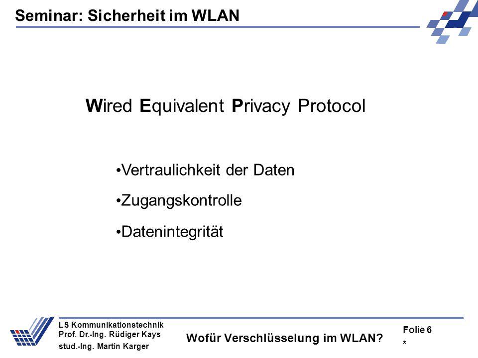 Seminar: Sicherheit im WLAN * Folie 5 LS Kommunikationstechnik Prof. Dr.-Ing. Rüdiger Kays stud.-Ing. Martin Karger Wofür Verschlüsselung im WLAN?
