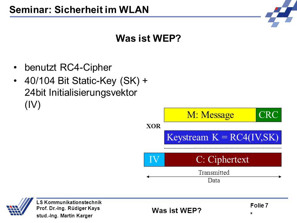 Seminar: Sicherheit im WLAN * Folie 6 LS Kommunikationstechnik Prof. Dr.-Ing. Rüdiger Kays stud.-Ing. Martin Karger Wofür Verschlüsselung im WLAN? Ver
