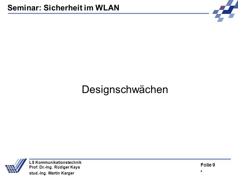 Seminar: Sicherheit im WLAN * Folie 8 LS Kommunikationstechnik Prof. Dr.-Ing. Rüdiger Kays stud.-Ing. Martin Karger Empfänger Ver- und Entschlüsselung
