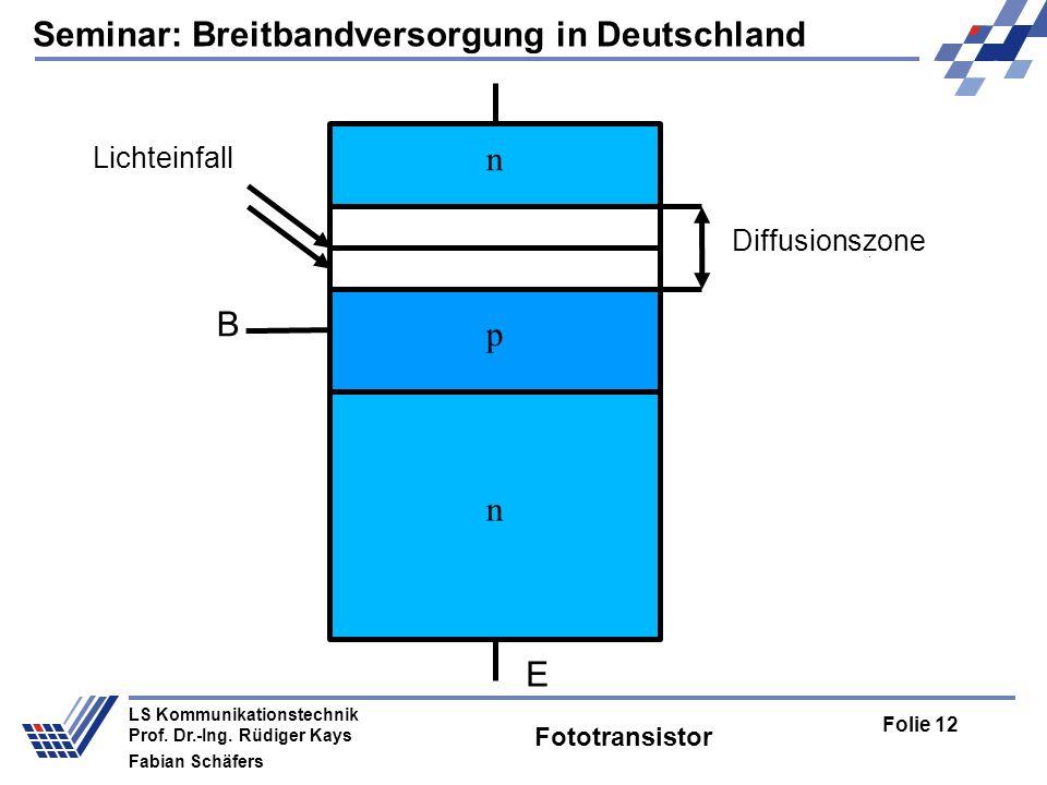 Seminar: Breitbandversorgung in Deutschland Folie 12 LS Kommunikationstechnik Prof.