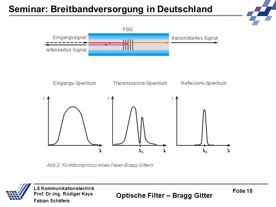 Seminar: Breitbandversorgung in Deutschland Folie 18 LS Kommunikationstechnik Prof.