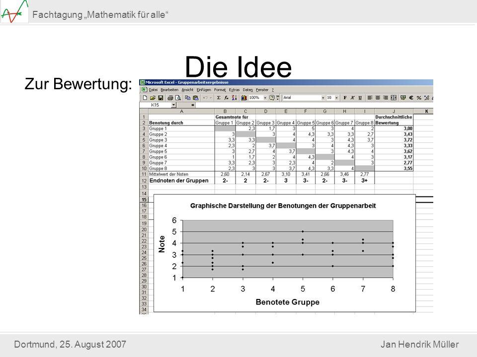 Dortmund, 25. August 2007Jan Hendrik Müller Fachtagung Mathematik für alle Die Idee Zur Bewertung: