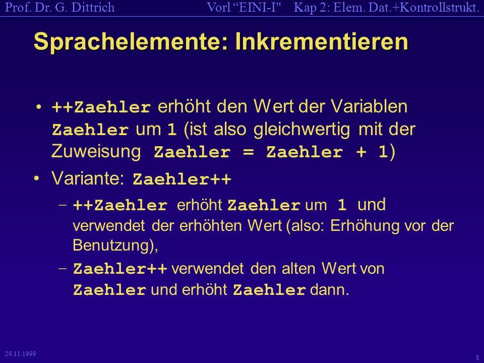 Kap 2: Elem.Dat.+Kontrollstrukt.Vorl EINI-I Prof.