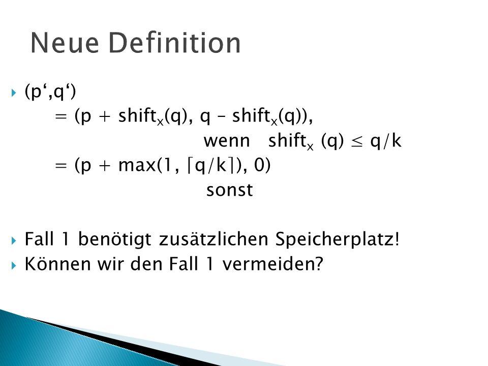 Neue Definition (p,q) = (p + shift x (q), q – shift x (q)), wenn shift x (q) q/k = (p + max(1, q/k), 0) sonst Fall 1 benötigt zusätzlichen Speicherplatz.
