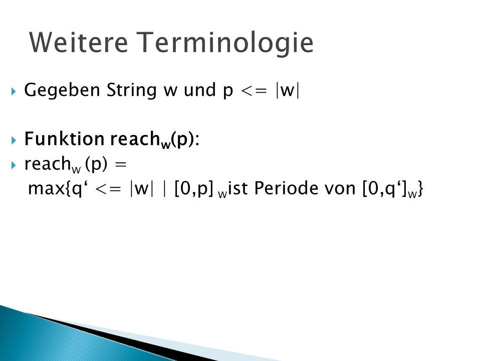 Weitere Terminologie Gegeben String w und p <= |w| Funktion reach w (p): reach w (p) = max{q <= |w| | [0,p] w ist Periode von [0,q] w }