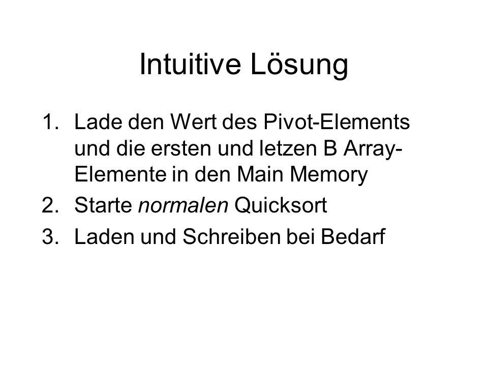 Intuitive Lösung 1.Lade den Wert des Pivot-Elements und die ersten und letzen B Array- Elemente in den Main Memory 2.Starte normalen Quicksort 3.Laden