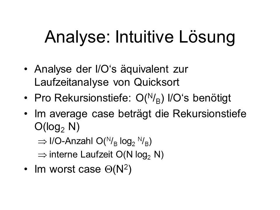 Analyse: Intuitive Lösung Analyse der I/Os äquivalent zur Laufzeitanalyse von Quicksort Pro Rekursionstiefe: O( N / B ) I/Os benötigt Im average case