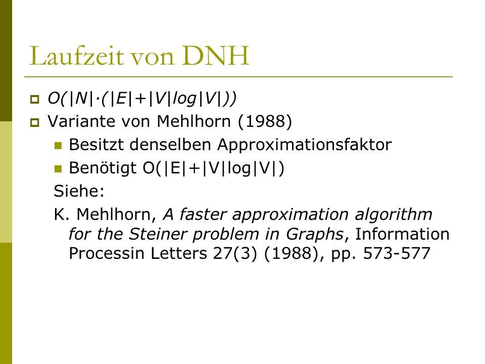 Laufzeit von DNH O(|N|·(|E|+|V|log|V|)) Variante von Mehlhorn (1988) Besitzt denselben Approximationsfaktor Benötigt O(|E|+|V|log|V|) Siehe: K. Mehlho