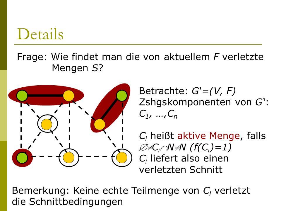 Details Frage: Wie findet man die von aktuellem F verletzte Mengen S? Betrachte: G=(V, F) Zshgskomponenten von G: C 1, …,C n C i heißt aktive Menge, f