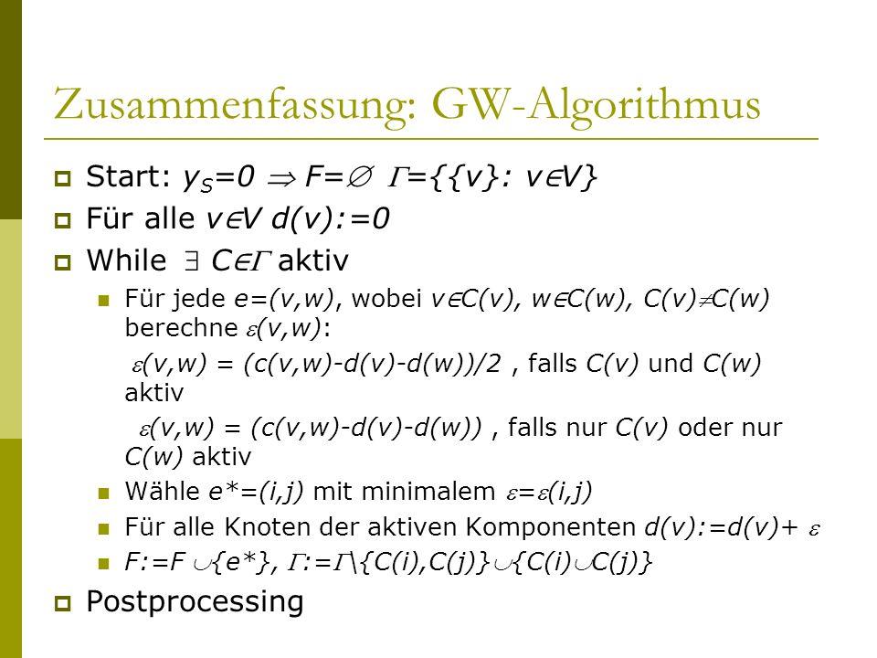 Zusammenfassung: GW-Algorithmus Start: y S =0 F= ={{v}: v V} Für alle v V d(v):=0 While C aktiv Für jede e=(v,w), wobei v C(v), w C(w), C(v)C(w) berec
