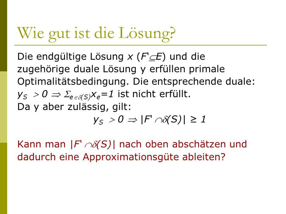 Wie gut ist die Lösung? Die endgültige Lösung x (FE) und die zugehörige duale Lösung y erfüllen primale Optimalitätsbedingung. Die entsprechende duale