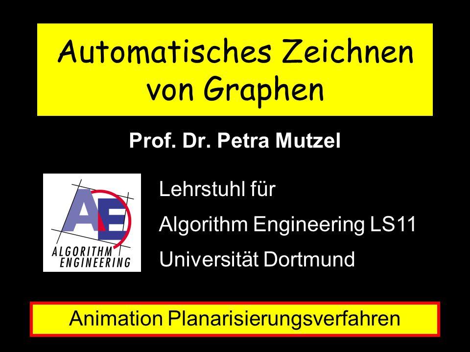 Prof. Dr. Petra Mutzel Animation Planarisierungsverfahren Lehrstuhl für Algorithm Engineering LS11 Universität Dortmund Automatisches Zeichnen von Gra