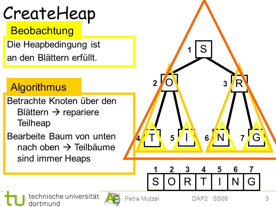 3Petra Mutzel DAP2 SS08 4 Betrachte Knoten über den Blättern repariere Teilheap Bearbeite Baum von unten nach oben Teilbäume sind immer Heaps CreateHe