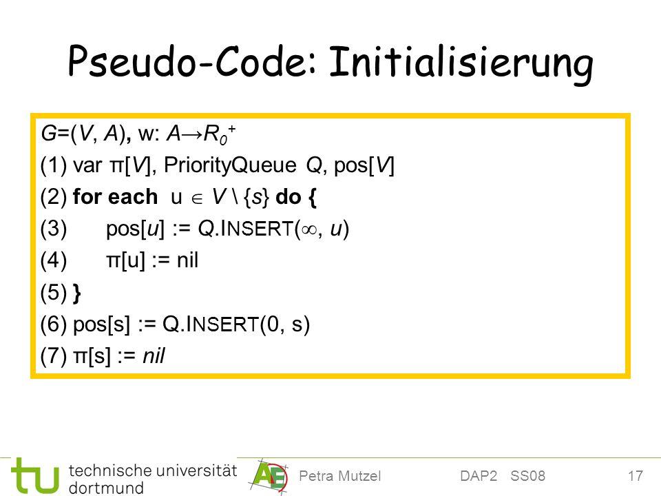 17Petra Mutzel DAP2 SS08 Pseudo-Code: Initialisierung G=(V, A), w: AR 0 + (1) var π[V], PriorityQueue Q, pos[V] (2) for each u V \ {s} do { (3) pos[u]