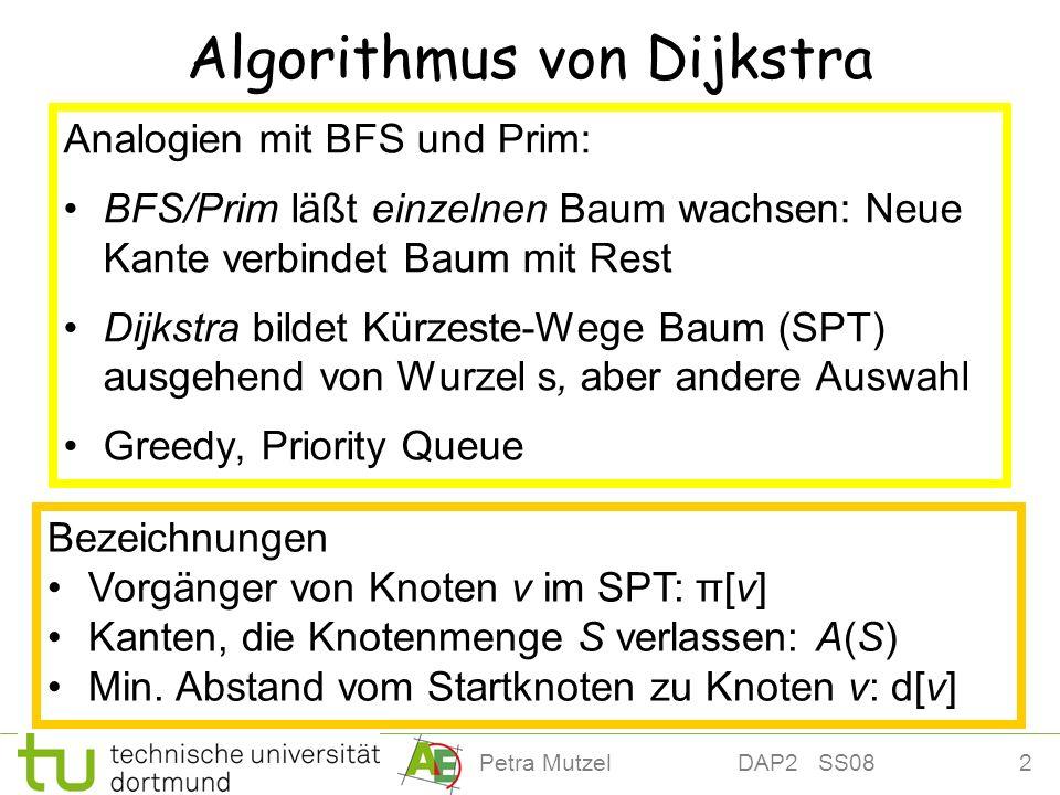3Petra Mutzel DAP2 SS08 Algorithmus von Dijkstra S := {s} // S Knoten im SPT d[s] := 0; π[s] := nil // s Wurzel while A(S) ø do // erreichbare Knoten // Optimale Substruktur Sei e = (u, v) A(S) mit d[u] + w(e) minimal S := S {v} d[v] := d[u] + w(e) π[v] := u end while