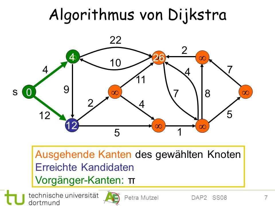 18Petra Mutzel DAP2 SS08 Pseudo-Code (8) while not Q.ISEMPTY() do { (9) (d u, u ) := Q.EXTRACTMIN(); // d u Abstand s zu u (10) pos[u] := nil // Minimum entfernt (11)for all e = (u,v) A - (u) do { // Erreichbare Knoten (12) if d u +w(e) < Q.PRIORITY(pos[v]) then { (13)Q.DECREASEPRIORITY(pos[v], d u + w(e)) (14)π[v] := u (15) } (16) } (17) }