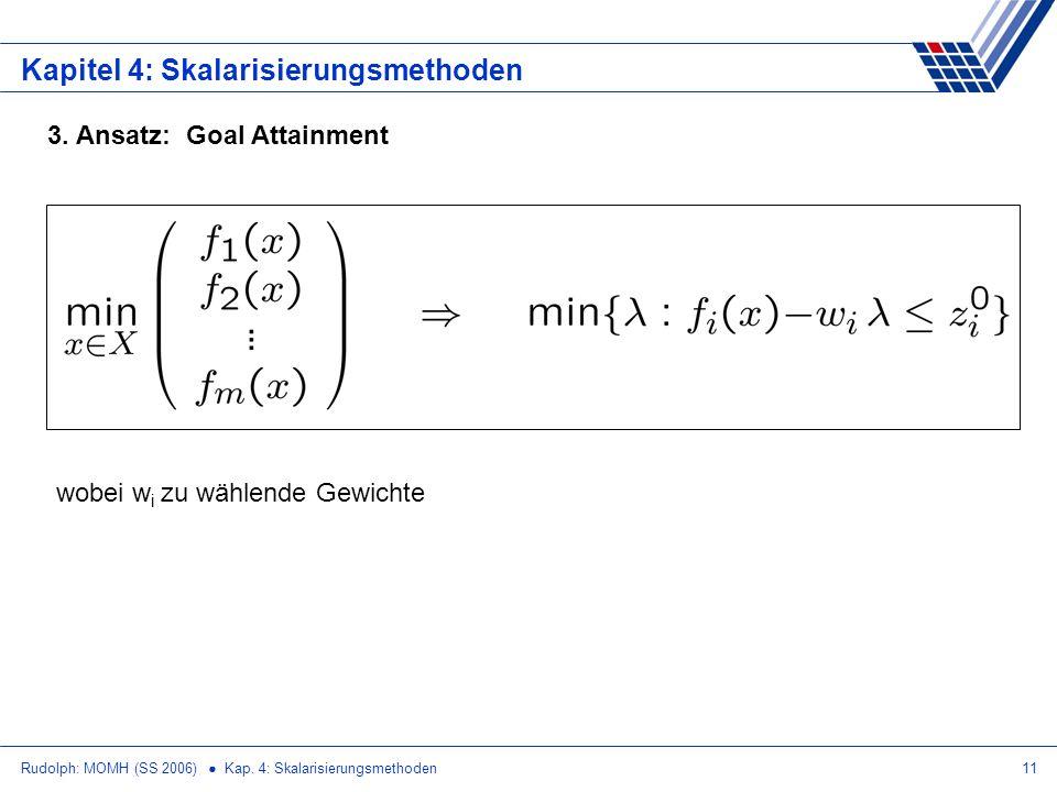Rudolph: MOMH (SS 2006) Kap. 4: Skalarisierungsmethoden11 Kapitel 4: Skalarisierungsmethoden 3. Ansatz: Goal Attainment wobei w i zu wählende Gewichte