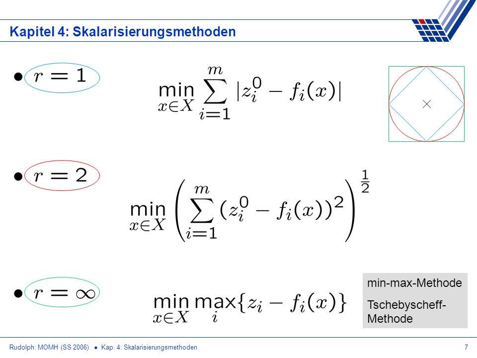 Rudolph: MOMH (SS 2006) Kap. 4: Skalarisierungsmethoden7 Kapitel 4: Skalarisierungsmethoden min-max-Methode Tschebyscheff- Methode